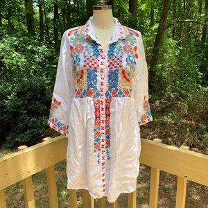 Johnny Was Linen Embroidered Tunic